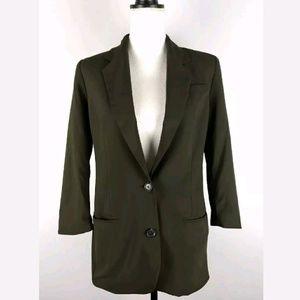 Vince 3/4 Sleeve Boyfriend Blazer Jacket in Olive
